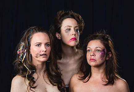 head shot of three women from the artists collective post