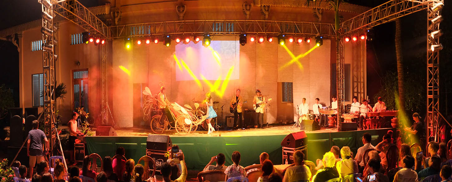 the cambodian project band on stage in front of a live audience
