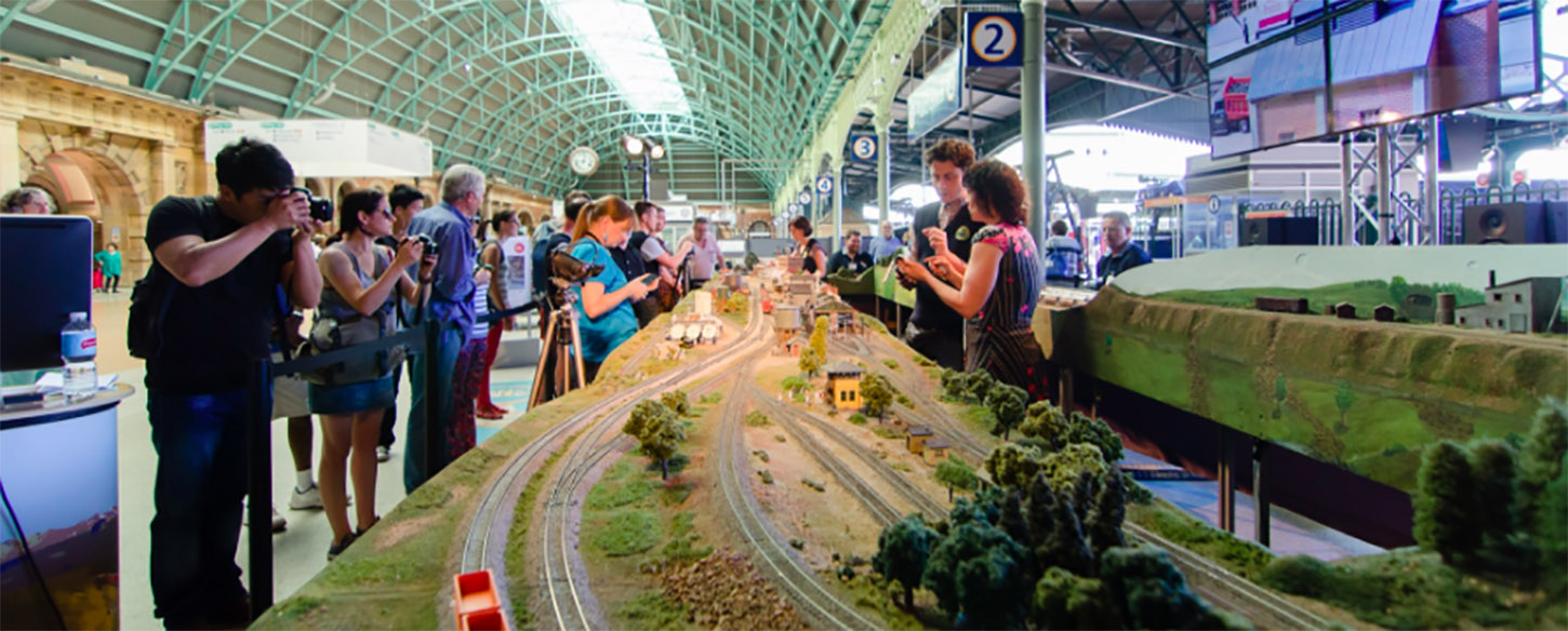 a long miniature train line with people standing either side of the track